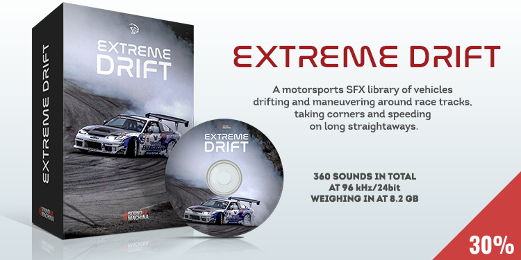 A motorsports SFX library of vehicles drifting and maneuvering around race tracks, at various speeds and densities taking corners and speeding on long straightaways.